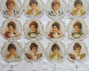 England Vintage Victorian Lady Portraits Lithographed Die Cut Paper Scraps A8 Out Of Print
