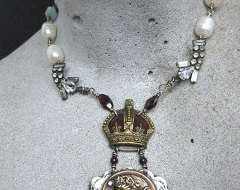 OOAK re purposed necklace KINGS CROWN sterling silver pearls garnets amazonite  Lons creations