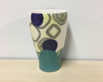 handmade porcelain tumbler: Dot Dot Rounded Square cup by Meredith Host