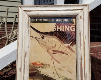 FISHING magazine in salvaged wood picture frame
