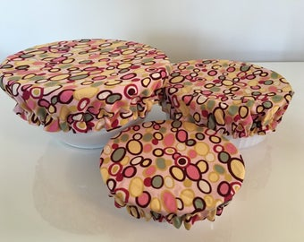 Reusable Food Bowl Container Elastic Picnic Cover Circle Cotton Fabric (3 Piece)