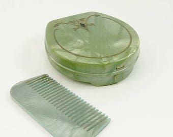 Vintage Art Deco Celluloid Compact & Comb Fuller Brush Compact