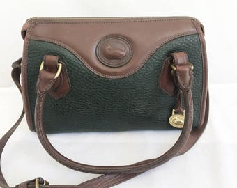 Vintage Dooney and Bourke Kelly Green Leather Handbag Purse