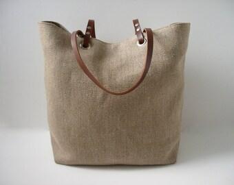Woven Jute Beach Bag, Tote Bag