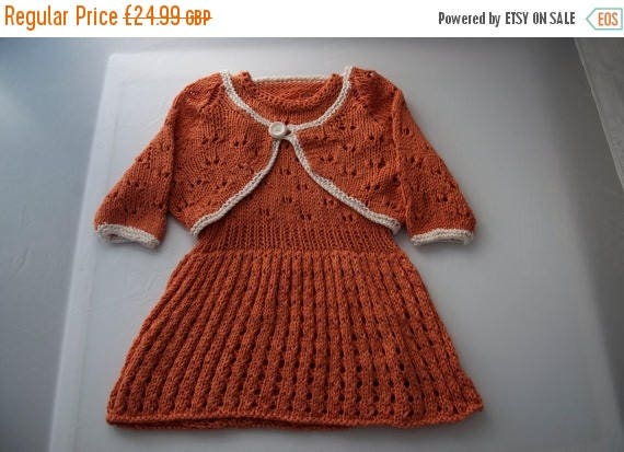 Christmas In July Handknitted Girls Dress and Bolero in Bamboo 9-12 month old size.
