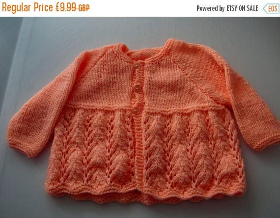Christmas In July Handknitted Sparkly Peach Girls Cardigan for 1 Year Old