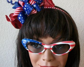 Patriotic 4th of July Red White and Blue Glitter sprays and Stars Headband Ribbons,