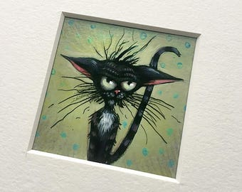 """NEW MINIATURE! """"Annoyed"""", original miniature mixed media 2"""" x 2"""" matted to 6x6"""" cat, annoyed, moody, black cat, illustration, painting"""