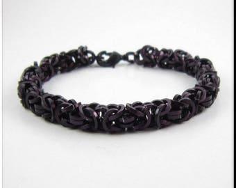 Chainmaille Bracelet or Anklet, Ankle Bracelet Solid Black Square Cut Byzantine Chain Mail Bracelet