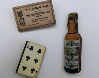 3 x Wooden Brooches - Ticket, Bottle, Card (SET A2)