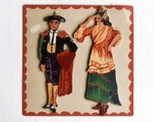 Vintage Hand Painted Folk Art Wood Figures, Traditional Costumes Of Spain, Wall Art, Christmas Decoration