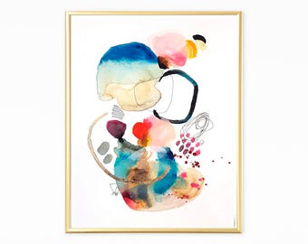 Small painting abstract watercolor modern art wall art original painting colorful painting blue art gold acrylic abstract acrylic art