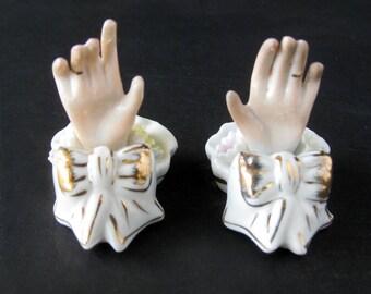 Vintage Porcelain Place Card Holders / Ladies Hand / Flowers / Bridal Shower / Wedding Decor / Metallic Gold Bow / Kelvins Japan / Set of 8