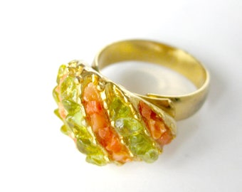 Vintage Cocktail Ring / Lime Green and Coral Striped Gold Cocktail Ring / Adjustable Ring / Vintage Jewelry / Gift for Her / Size 6.5
