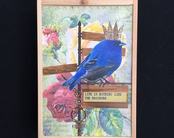 Inspirational art, bird altered art, bird and crown altered art, wall decor, recycled home decor, inspirational quote art, great gift idea