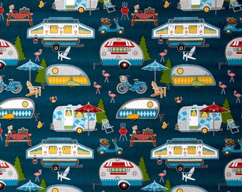 New ~ Let's Go Glamping  Packed Campers Dark Blue Color ~ Anne Rowan for Wilmington Prints, Quilt Cotton