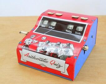 Vintage Wolverine Arithmetic Quiz • Mid Century Tin Educational Toy