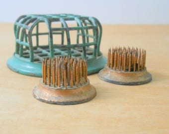 Vintage Flower Frogs • Collection of 3 Metal  Flower Frogs • Green Cage Cooper Color Spikes