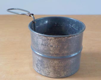 Vintage 2 Cup Measuring Sifter • Basic Rustic Metal Flour Sifter • Made in the USA Sifter