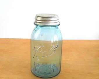 Vintage Blue Ball Jar •  Quart Ball Jar with Zinc and Porcelain Lid • Vintage Presto Zinc Lid