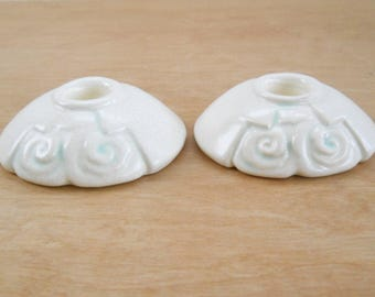 Vintage Weller Pottery Candle Stick Holders • Ivory with Green Art Pottery