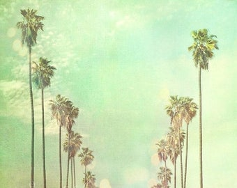 SALE Los Angeles photography, photo of California palm trees in a row La La Land sunny day summer vacation blue mint green sky travel nurser