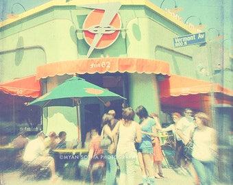 photography, Los Angeles photograph, mint green, orange, citrus, retro, Vermont Ave, Los Feliz food, eat, hipster, restaurant cafe people