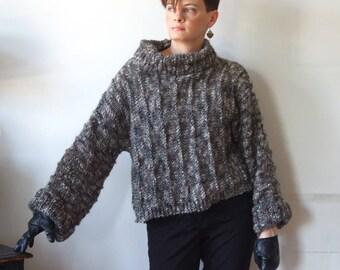 Alpaca sweater, cropped sweater, loose alpaca shrug, turtleneck pullover, gray melange jumper, hand knit sweater, avant garde shrug tunic