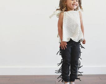 PREORDER! organic Black Fringe leggings