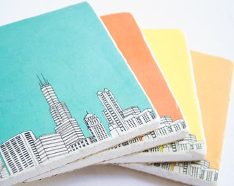 Chicago Skyline Coasters - Set of 4 - Chicago Coasters - Chicago Gift - Chicago Home Decor - Housewarming Gift