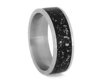 Black Stardust Wedding Band, Meteorite Ring With Enamel, Matte Titanium Band For Men