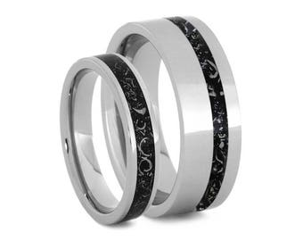 Matching Black Stardust Wedding Band Set, Meteorite Ring Set In Titanium With Enamel, Couples Wedding Anniversary Rings or Promise Rings