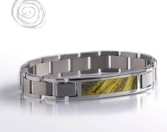 Buckeye Burl Wood Bracelet, Interchangeable Steel Bracelet Set, Modular Bracelet, Natural Jewelry