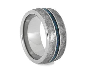 Handmade Gibeon Meteorite Wedding Band With Crushed Synthetic Opal Center Pinstripe, Unique Titanium Ring For Men