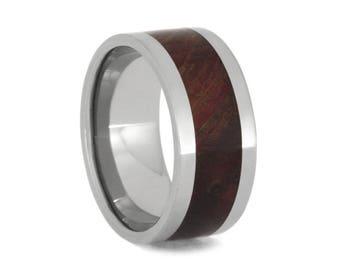 Ruby Redwood Burl Wedding Band, Men's Wood Ring, Polished Titanium Band, Commitment Ring