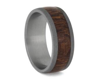 Leopard Wood Wedding Band, Sandblasted Titanium Ring For Men or Women, Statement Ring