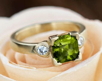 Peridot Engagement Ring In Matte Yellow Gold, Moissanite Ring, Antique Style Ring