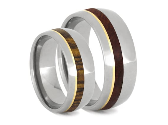 Wood Wedding Band Set, Titanium Ring Set With Bocote Wood And Amboyna Burl, 14k Yellow Gold Rings For Couples, Marriage Rings