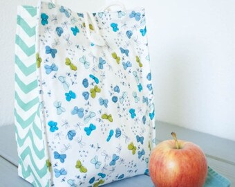 ON SALE Insulated Organic Cotton Lunch Bag -- Blue Butterflies with Sea Green Chevron -- PLASTIC Free!
