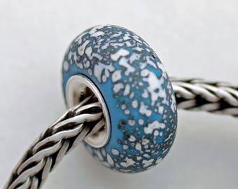 Unique Turquoise Sand Sea Glass Bead -  Artisan Glass Bracelet Bead - (AUG-29)