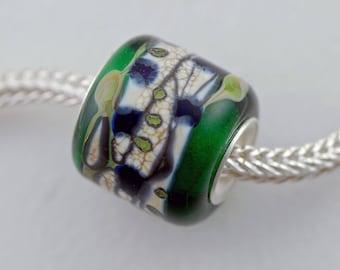 Unique Small Green Organic Barrel Bead - Artisan Glass Bracelet Bead - (DEC-85)