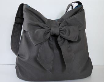 Sale - Grey Canvas Bag, tote, handbag, purse, bow, Cross body, messenger bag, shoulder bag, unique - JESSICA