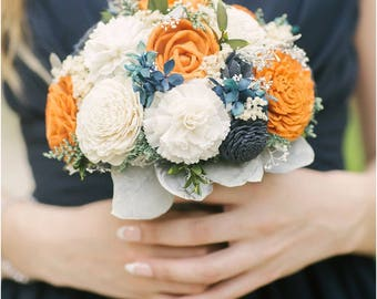 Orange, Navy Blue and Ivory Wedding Bouquet - sola flowers - Customize colors - Alternative bridal bouquet - bridesmaids bouquet