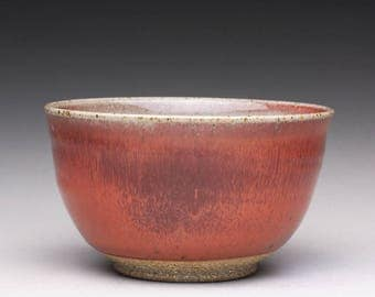 handmade pottery bowl, ceramic chawan, stoneware tea bowl with bright red and green celadon glazes