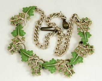 Vintage Grape Vine Necklace, Grapes Necklace, Gold Tone Green Enamel 50s Choker Adjustable Necklace
