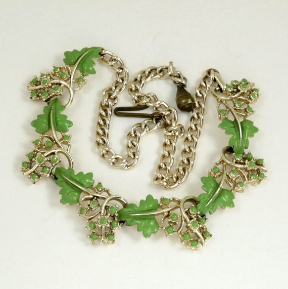Vintage 50s Green Enamel Grape Vine Choker Necklace