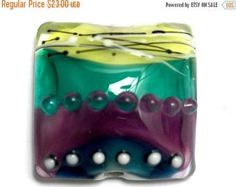 ON SALE 30% off NEW! Handmade Glass Lampwork Bead - 11837704 Begonia Stripes Pillow Focal Bead