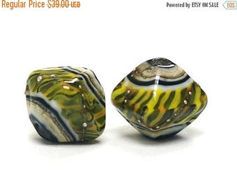 ON SALE 30% off Glass Lampwork Bead Sets  - Five Green Tiger Bicone Beads 10802207
