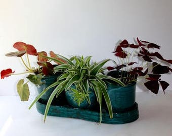 Turquoise Blue Planter With Three Flower Pots and Tray  Hand thown and Hand built Stoneware  Good for Herbs and Houseplants Indoors or Out