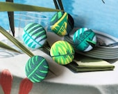 Handmade Small Tropical Green Blue Leaf Leaves Plant Floral Summer Fabric Covered Buttons, Flat Backs, 0.75 Inches 5's